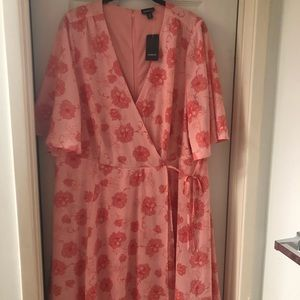 Coral floral print georgette wrap dress NWT